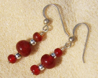 Red Glass Earrings - Handmade Cranberry Red with Silver Dangles, Perfect for Any Occasion by JewelryArtistry - E499