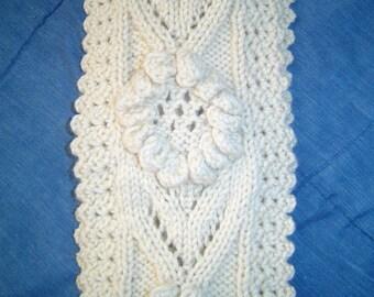 0038 Flower Scarf Pattern,Woodland Knit Scarf Pattern,Floral HandKnit Crochet Scarf by CarussDesignZ
