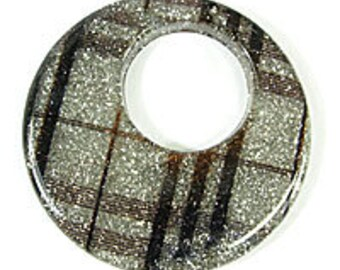 2 x 60mm Resin Tartan Glitter Circle Hoop Charm