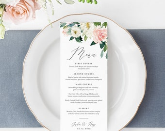 Wedding Menu Template, INSTANT DOWNLOAD, Printable Dinner Menu Card, 100% Editable, Blush Florals, Boho Wedding, Templett, DIY #043-122WM