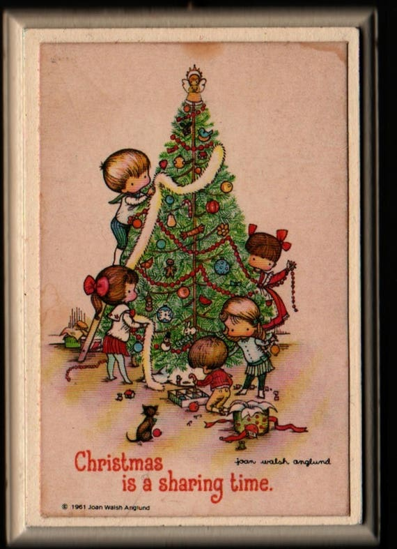 Christmas is a Sharing Time Wall Hanging Plaque + Joan Walsh Anglund + 1961 + Vintage Home Decor
