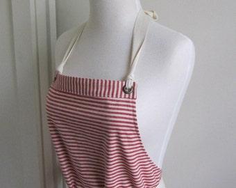 Full  Apron Woman Hemp  apron  cotton apron  Red Stripe apron  organic cotton hemp custom apron