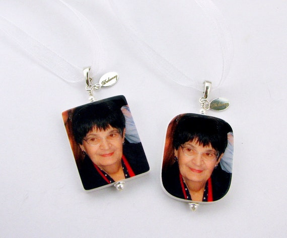 Wedding Bouquet Charms - 2 Large Photo Pendants (1 Square & 1 Rounded) - Handmade Jewelry - BC1x2a