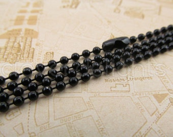 """20 - 24"""" Dark Black Ball Chain Necklaces - 24 Inch Antique Style Chain With Clasp - Bottle Cap Scrabble Dog Tag Pendant 2.4mm ball"""