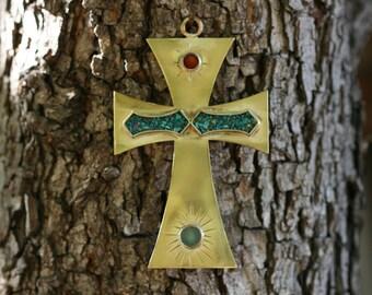 Turquoise Cross, Brass Cross, Wall Hanging Cross, Metal Cross, Home Decor