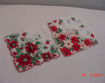 2 Vintage Christmas Poinsettia Handkerchiefs  18 - 325