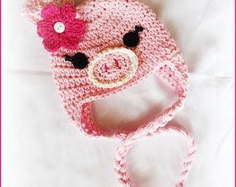 This Little Piggy Pig Crochet Hat by AngelsChest - Size: Newborn to Teen - Photography Prop - Babyshower - Baby Gift