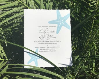 Beach Wedding Program featuring Starfish