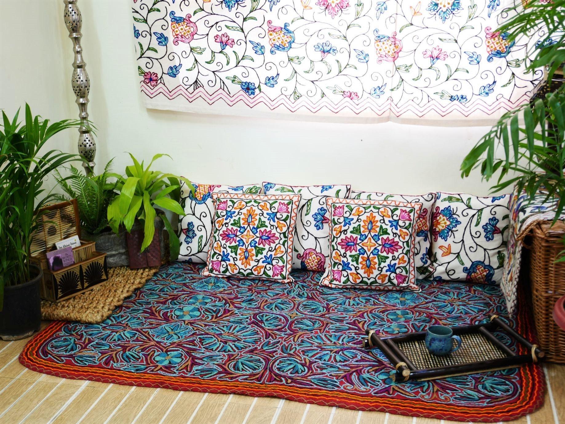 Boho Wollteppich Filz Teppich handbestickt aus Kashmir