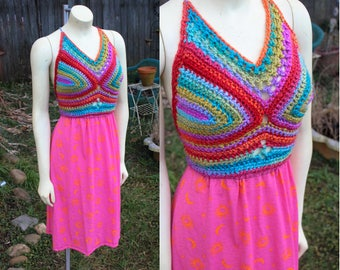 Rainbow Love  - One of a kind dress - Adjustable size-  Crocheted