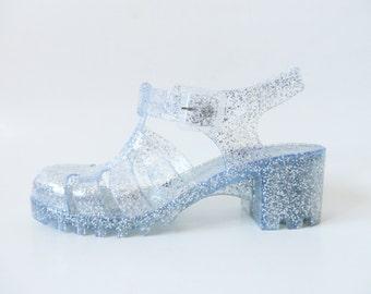 Glittering Silver Jelly Sandals Heeled Summer Rain Shoes Transparent Sparkle Jelly Boho Hippie Beach Slingback Size UK 6 / EUR 39 / US 8