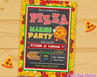 Pizza Party birthday invitation, pizza invite, pizza party birthday party, Digital file(19)