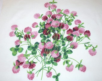 Clover Bouquet Vintage Tablecloth Piece | Pink Clover Wilendur Vintage Tablecloth Fabric Piece | 18 x 17 Inches | Pillow or Project Piece