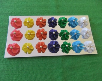 """Royal Icing Drop Flowers 1"""" Any Color 24/pk Cakes-Cupcakes-Cakepops Edible Decorations"""