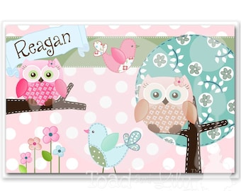 Kids PLACEMAT Sweet Little Owl Children's Personalized Wipe-able Place Mat Learn to Set the Table Laminated Kids Placemat PLM009