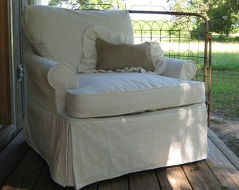 Custom Slipcovers-In-House Slips-Washed Cotton Duck Slipcovers-Classic Fitted Slipcovers with Covered Cording-Decorator Slipcovers