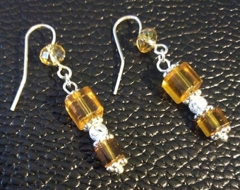Dainty Yellow Crystal Glass Beads & Silver Dangle Earrings
