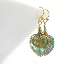 Aquamarine Heart Earrings - Czech Glass - Blue Dangle Earrings - Blue & Gold Jewelry - Mother's Day Gift