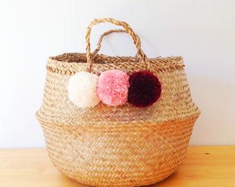 Pom Pom Seagrass Belly Basket Ombre Cream Blush Pink Berry Panier Boule Nursery Toy Home Storage Planter Laundry