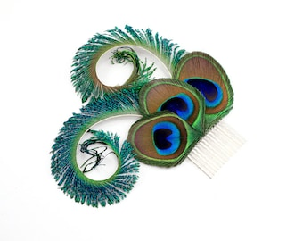 Optimistic - Peacock bridal hair accessory  /Peacock feather fascinator / Peacock feather hair clip or comb