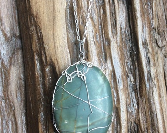 Wire wrapped green agate necklace