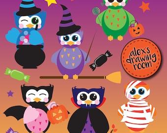 Halloween owls clipart, digital Halloween owls, owl clip art, Halloween clipart, owl clipart, clipart set, Halloween clip art, cute owl
