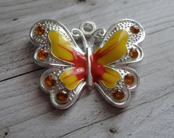 Great 29.5x34.5 mm yellow enamel silver Butterfly charm