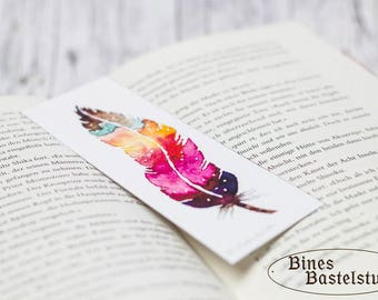 Bookmark #5 Print | Watercolor Bookmark | Feather Bookmark | Watercolor Feather