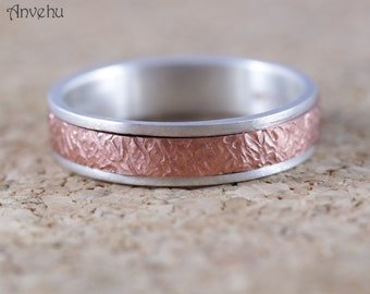 Mens wedding ring Unique Organic Textured wedding band sterling Silver and solid rose gold Unisex wedding ring Handforged