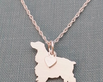 Cocker Spaniel Necklace, Sterling Silver Personalize Pendant, Breed Silhouette Charm Rescue Shelter, Birthday Gift