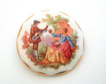 Large Porcelain Brooch Fragonard