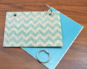 COVER and RINGS ONLY, teal newsprint index card binder, addresses, organize recipes, bible scriptures, gift for nurses, teachers, coworker