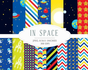 Space digital papers - astronaut paper set, UFOs, aliens, spaceships, rockets, planets, Earth, moon, for personal and commercial use