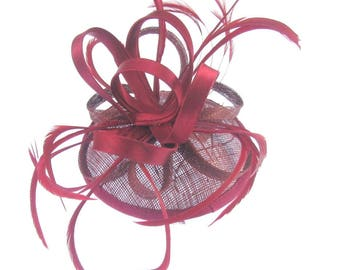 Burgundy fascinator/ hat with comb and elastic, weddings, races, ladies day