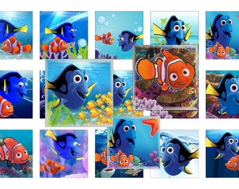 Finding Dory Inspired Scrabble Tile Images 1 inch x 1 inch Finding Dory Digital Collage Sheets 1 INCH Square Images Finding Dory 1 inch Nemo