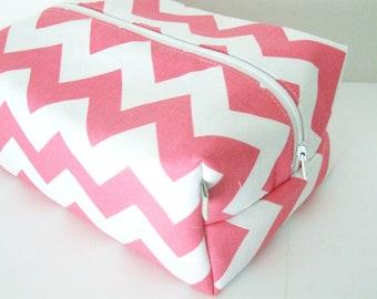 Chevron Makeup Bag  - Cosmetic Pouch -  Pink Chevron Waterproof Bag