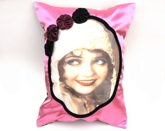 Nancy Carroll Flapper Pillow Gatsby Girl Roaring Twenties Pink Satin Cushion Black Edging Handsewn Rosettes Art Deco Gold Leaf Hankie Pocket
