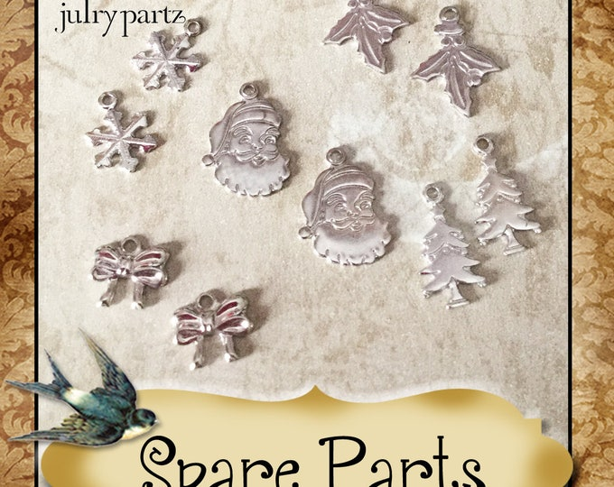 SPARE PARTS•Earring Parts•Necklace Parts•Vintage Components•Set 9 Christmas