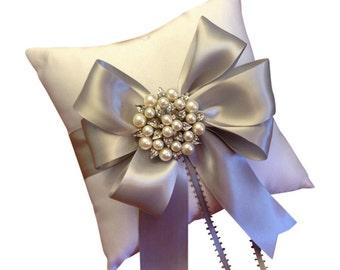 Gray Ring Bearer Pillow - Pewter Ring Pillow - Pearl Ring Pillow - Ring Cushion - Silver Ringbearer Pillow - Gray Wedding - Custom Colors