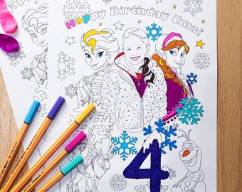 Personalized Frozen Coloring Page Printable Birthday Party Activity DIY Gift PDF JPEG Custom Made Instant Download Illustration
