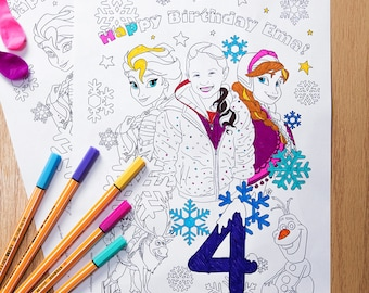 Personalized Frozen Coloring Page Printable Birthday Party Activity DIY Gift PDF JPEG