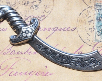 Brass Sword, Brass stamping, Sterling Silver Finish, Medieval Sword, Brass Stampings Made in the USA