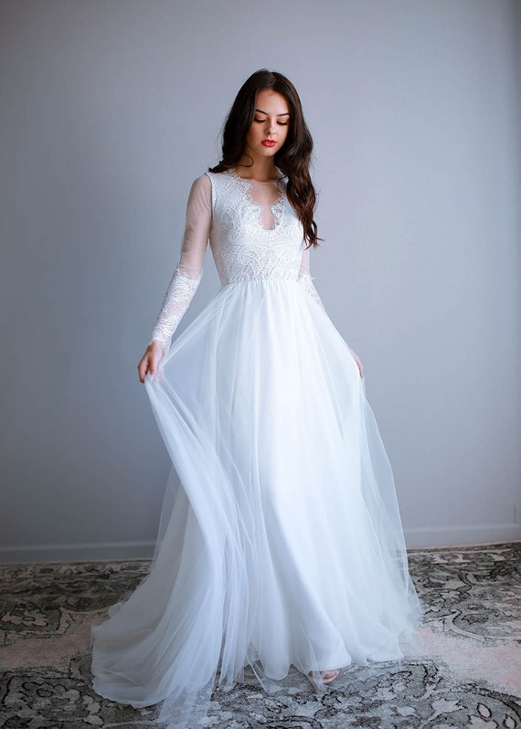 Eyelash Lace Wedding Dress Elegant Wedding Dress Silk