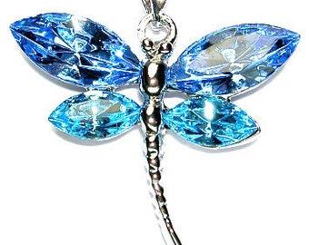 Swarovski Crystal Elegant Aqua Blue DRAGONFLY Bridal Wedding Pendant Charm Chain Necklace Mother's Day Christmas Best Friend Jewelry Gift
