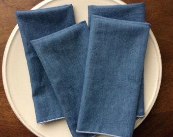 Soft Blue Denim Cloth Napkins, Set of 12