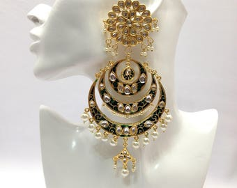 Handmade Indian Kundan Large Earrings with Pearl Imitation Bollywood jewelry Indian Wedding jewelry