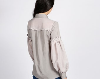 Hudson Grey Blouse with Pleated Balloon Sleeves