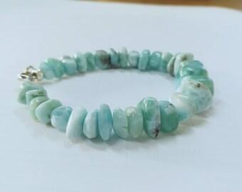 Larimar bracelet Seafoam Caribbean bracelet Simple and minimalist fashion jewelry