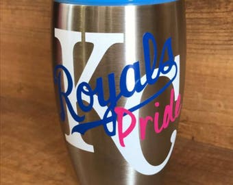KC Royals Pride cup decal, window decal, window cling, yeti decal, sippy cup decal, travel cup decal, Kansas City, baseball