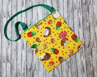 NEW**Hedgehog Bonding Bag / Small Animal Carry Bag w/ Adjustable Strap - Who Let the Hogs Out, yellow cotton